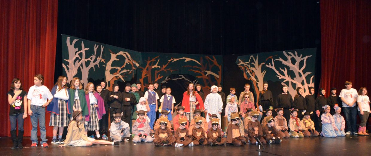 "The cast and crew of ""Red Riding Hood"" by Missoula Children's Theatre gathers for photos after their Saturday performance at the Moffat County High School auditorium."