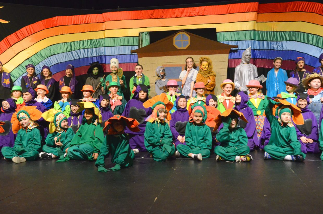"""The cast of the Missoula Children's Theatre takes a curtain call following its final performance Saturday afternoon. MCT cast 64 Craig kids in the production of """"The Wizard of Oz"""" as both actors and assistant directors after auditions on Monday and had the show ready to go on Saturday after less than one week of rehearsals."""