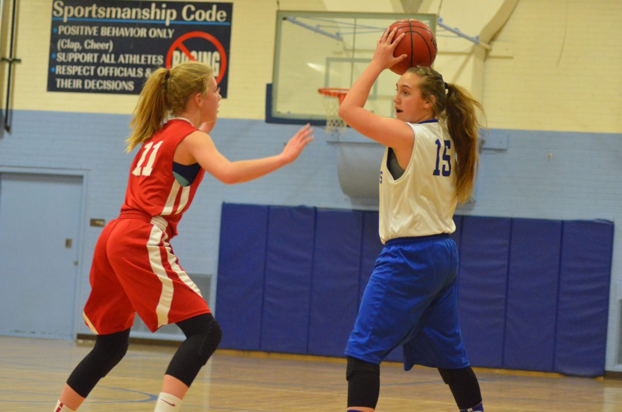 Craig Middle School eighth-grader Amber Salazar stops mid-court against Rawlins, Wyoming. CMS girls basketball A-team took a 30-17 loss during Craig's Saturday tournament. It was the only Bulldog defeat of the day.