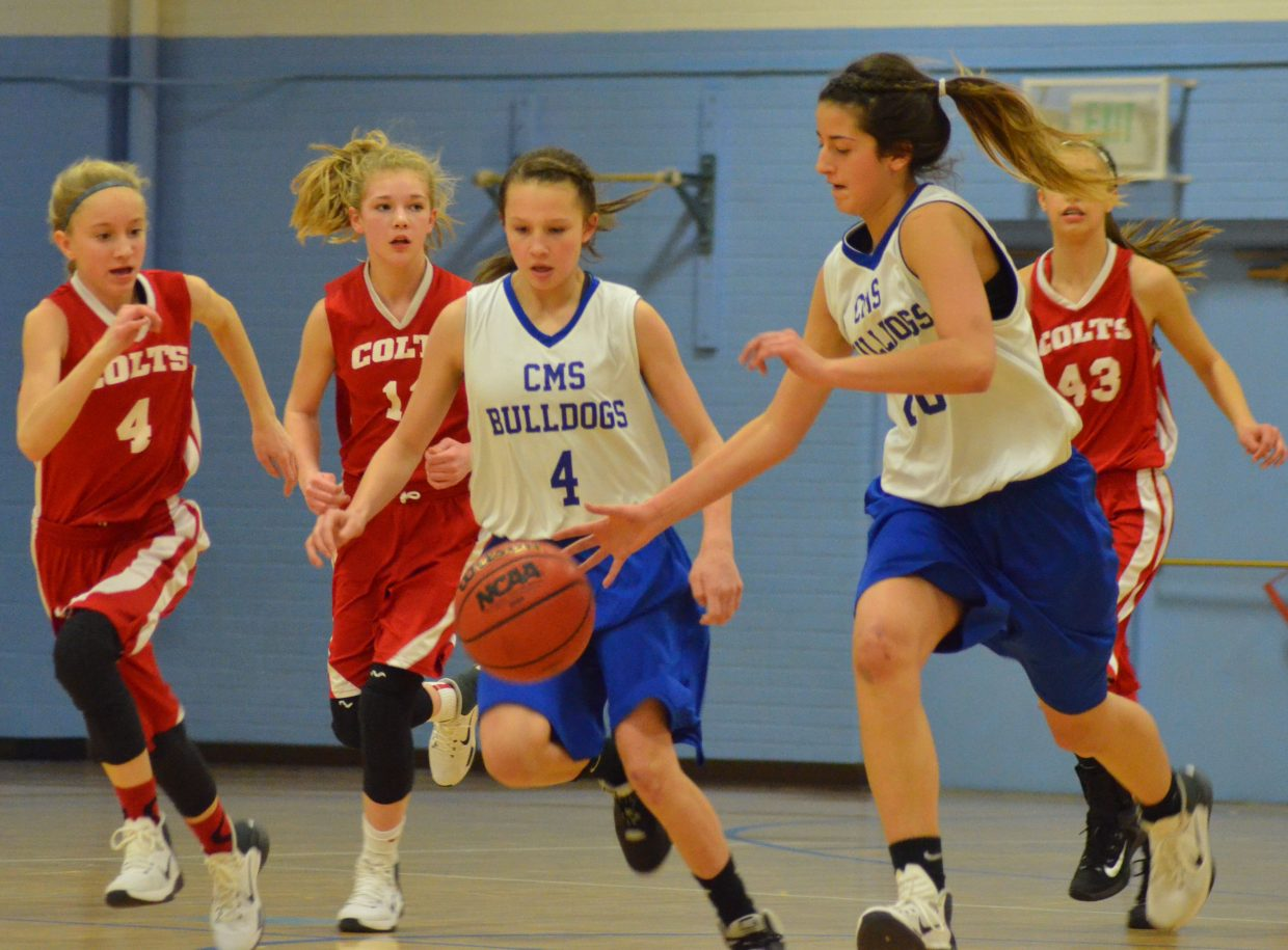 Craig Middle School eighth-graders Marissa Lindsey (4) and Hannah Vasquez (20) are on the attack against Rawlins, Wyoming.