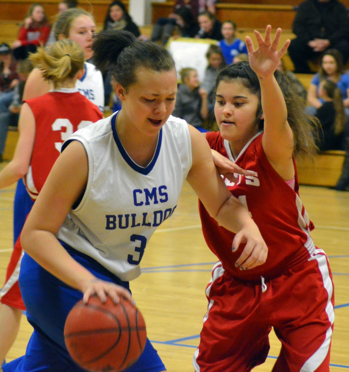 Craig Middle School eighth-grader Stormy Townsend drives against Rawlins, Wyoming. CMS eighth-grade B-Team was 2-0 in a Saturday tournament and A-Team 1-1.