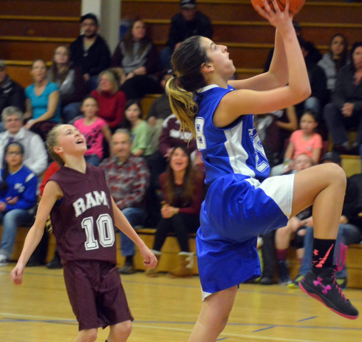 Craig Middle School's Hannah Vasquez is all alone to score during the seventh-grade A-Team's Thursday home game with Soroco. The Bulldogs beat the Rams, 33-15.