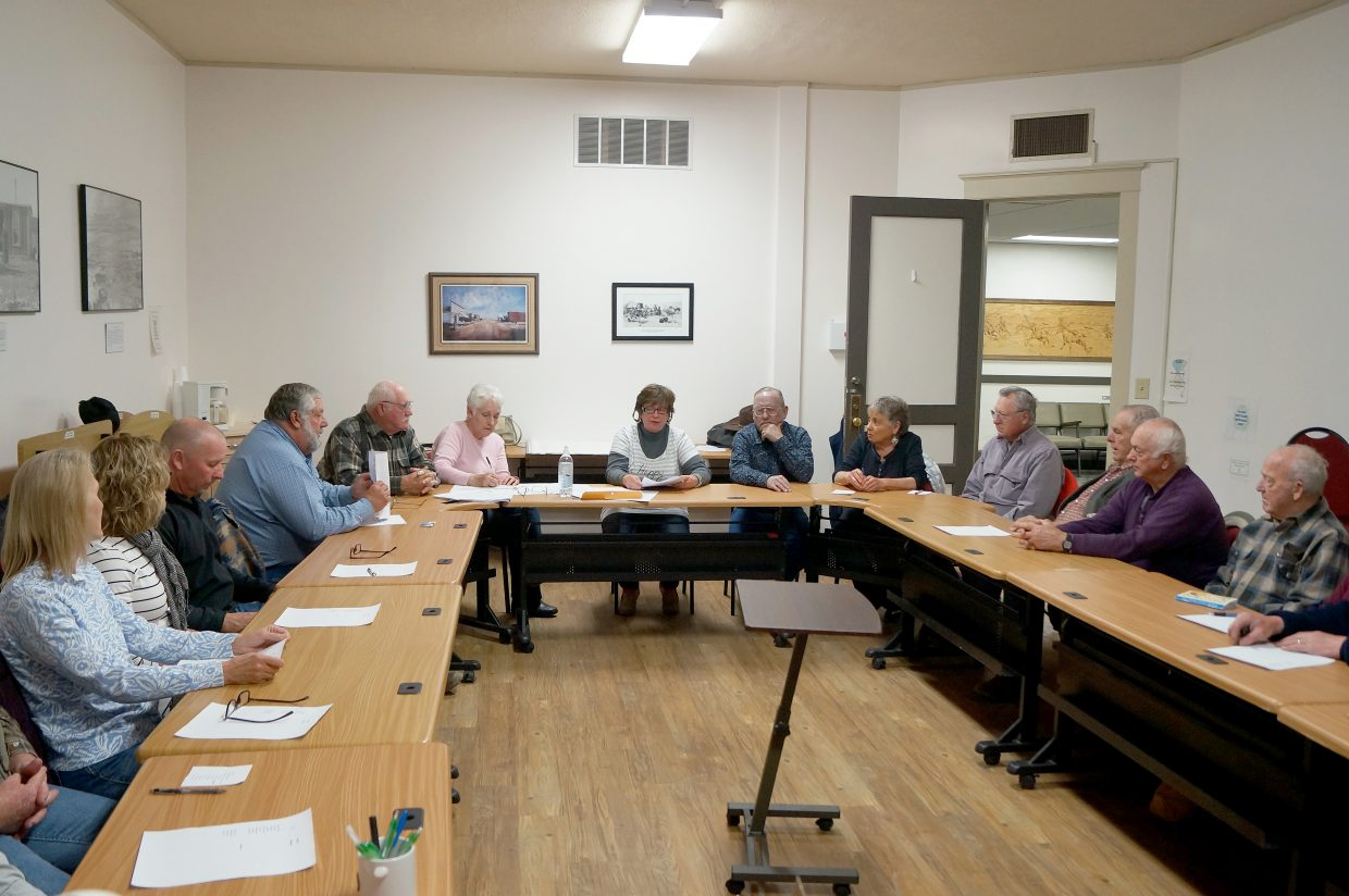 Moffat County residents gather for the Precinct 2 Republican caucus at Moffat County Courthouse Tuesday night.