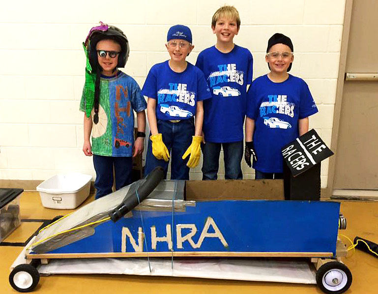The Racers, a group of Sunset Elementary School students, participated the Destination Imagination Western Slope Tournament on Saturday, placing third of seven teams in their grouping, Technical Challenge. The students include Travis Lefevre, left, Layne Tupa, Gabriel Lowther, Aaron Gregory.