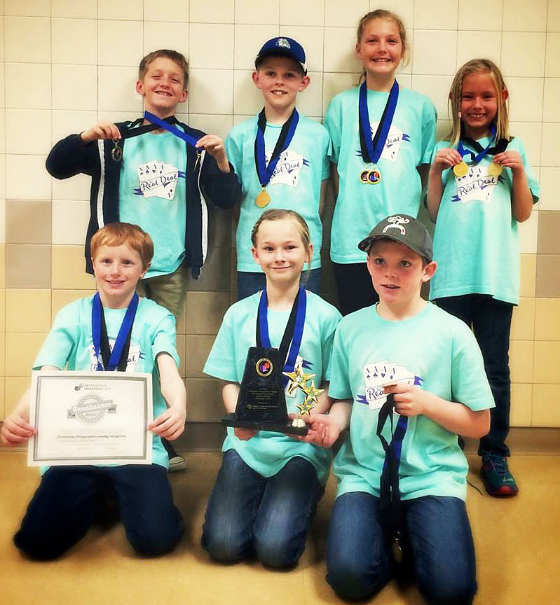 The Real Deal, a Sunset Elementary School team, participated in the Destination Imagination Western Slope Tournament on Saturday. The team took first place in the Structural Challenge category and was invited to participate in the upcoming state tournament. The team also won the Renaissance Award. Back row: Roark Browning, left, Wyatt Tucker, Alexis Jones, Mena Tucker; front row: Blake Tupa, Jolene Rhyne, Hudson Jones.