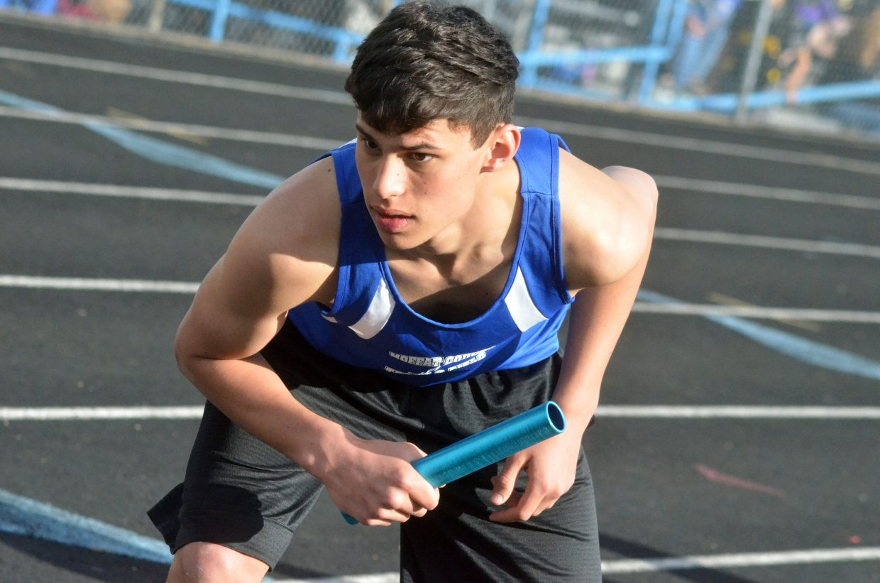 Craig Middle School's Jerod Chacon gets set on his mark and prepares to run during the Moffat County Night Relays.