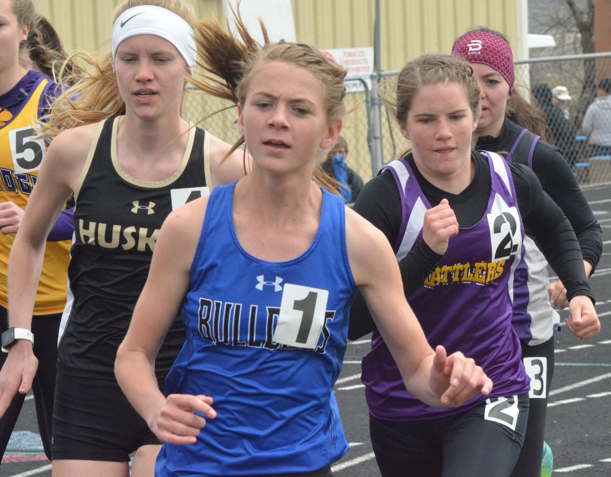Moffat County High School's Liberty Hippely leads the pack during the girls 1,600-meter run at Friday's Clint Wells Invitational in Craig.