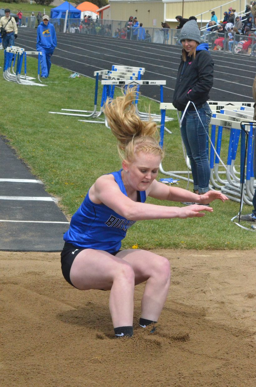 Moffat County High School's Jaidyn Steele hits the dirt in the girls long jump at Friday's Clint Wells Invitational in Craig.
