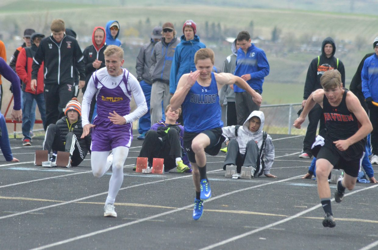 Moffat County High School's Drew Rothermund takes off during the boys 100-meter dash at Friday's Clint Wells Invitational in Craig.