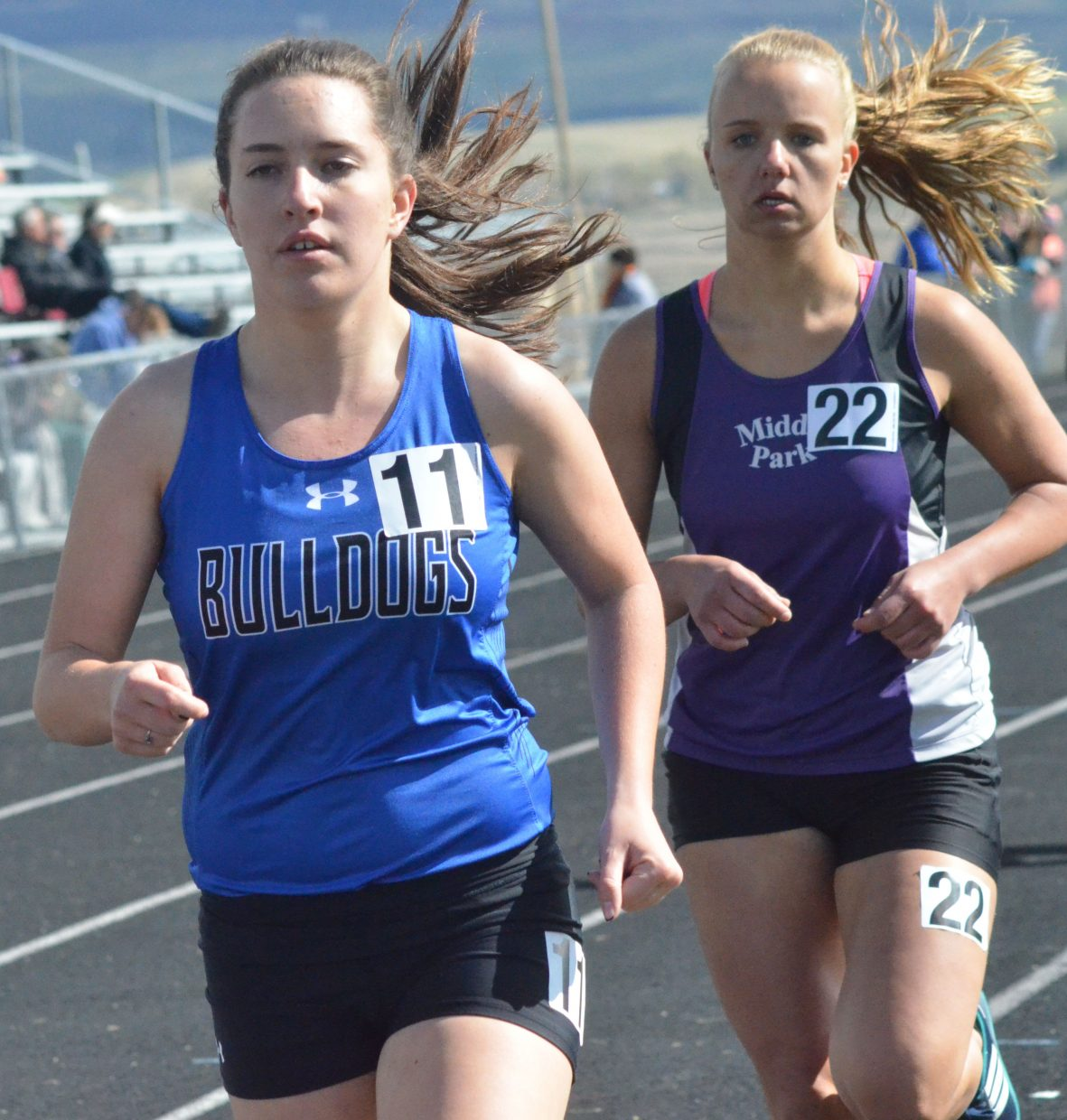 Moffat County High School's Kaylee Durham goes into the second lap of the girls 800-meter run at Friday's Clint Wells Invitational in Craig.