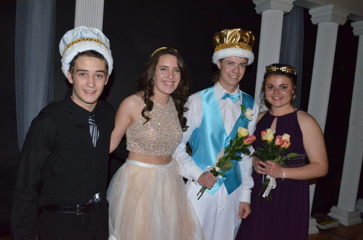 The 2016 Moffat County High School prom royalty consists of, from left, juniors Jay Carrico and Kaylee Durham as Prince and Princess and seniors AJ Stoffle and Charli Earle as King and Queen. The annual formal dance took place Saturday night at MCHS.