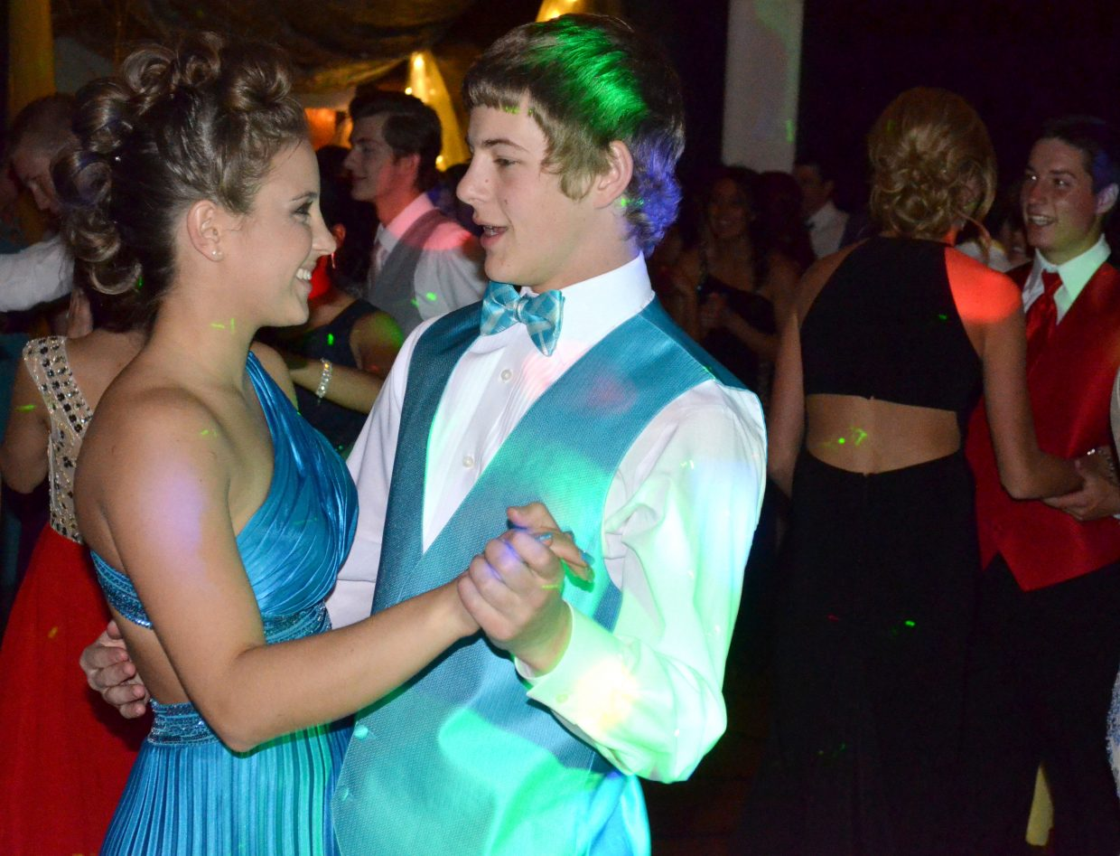 Moffat County High School's Alex Hamilton and Ryan Zimmerman share a dance during Saturday night's prom at MCHS.