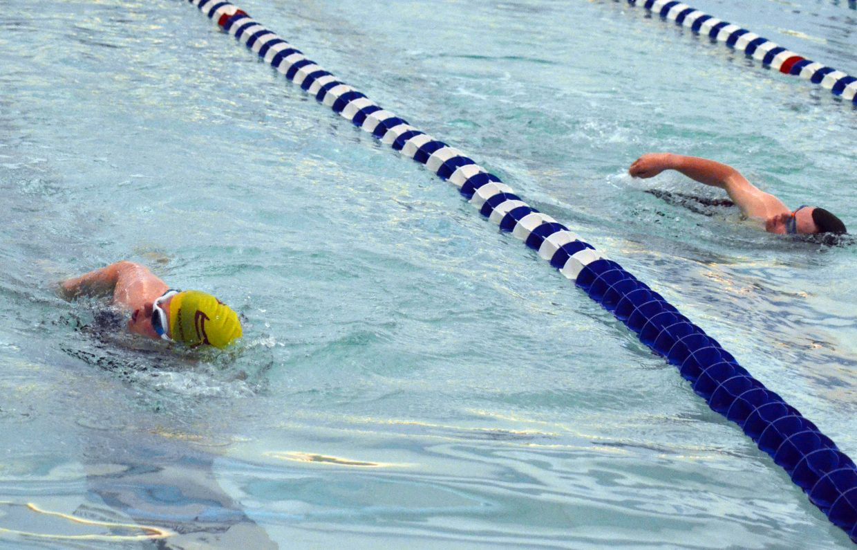Swimmers give it their all in the Moffat County High School pool during the Western Area Colorado Spring Special Olympic Games Saturday.