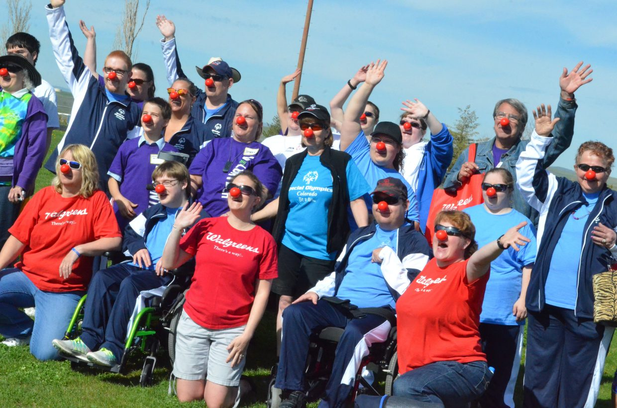 Athletes and volunteers celebrate Red Nose Day a little early as part of the Western Area Colorado Spring Special Olympic Games Saturday morning at Moffat County High School.