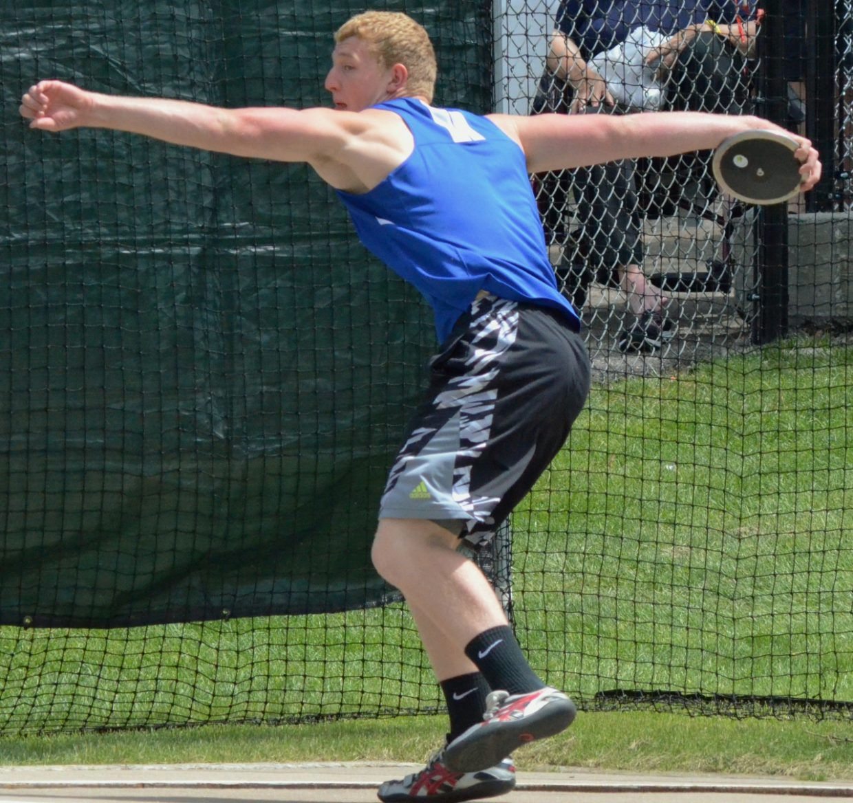 Moffat County High School's Keenan Hildebrandt gets ready to unleash his throw in the boys discus of the State Track and Field Championships. Hildebrandt placed third in the event.