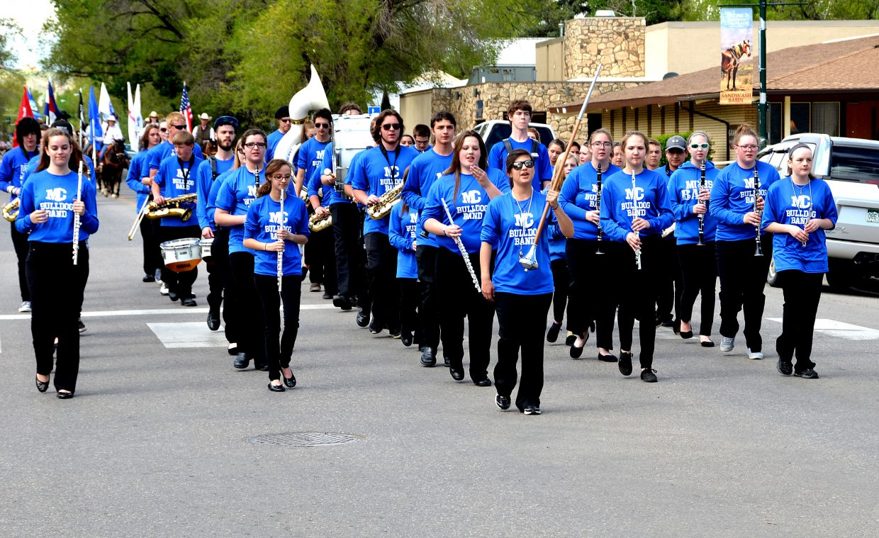 Moffat County High School's band helps lead the parade down Yampa Avenue.