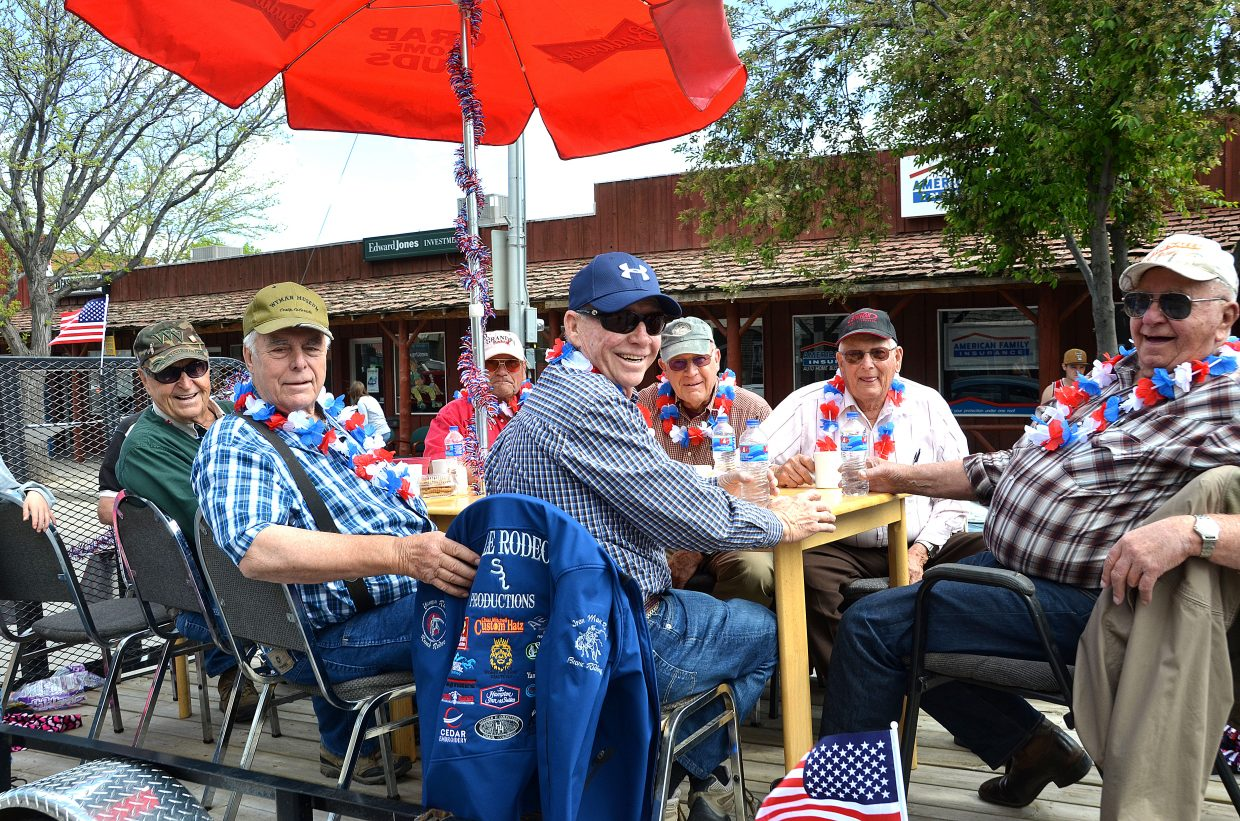 """Craig's """"old-timers"""" participate in the Grand Olde West Days Parade. The group meets for coffee each morning at the Cool Water Grille. Their float was a mockery of their coffee gatherings."""