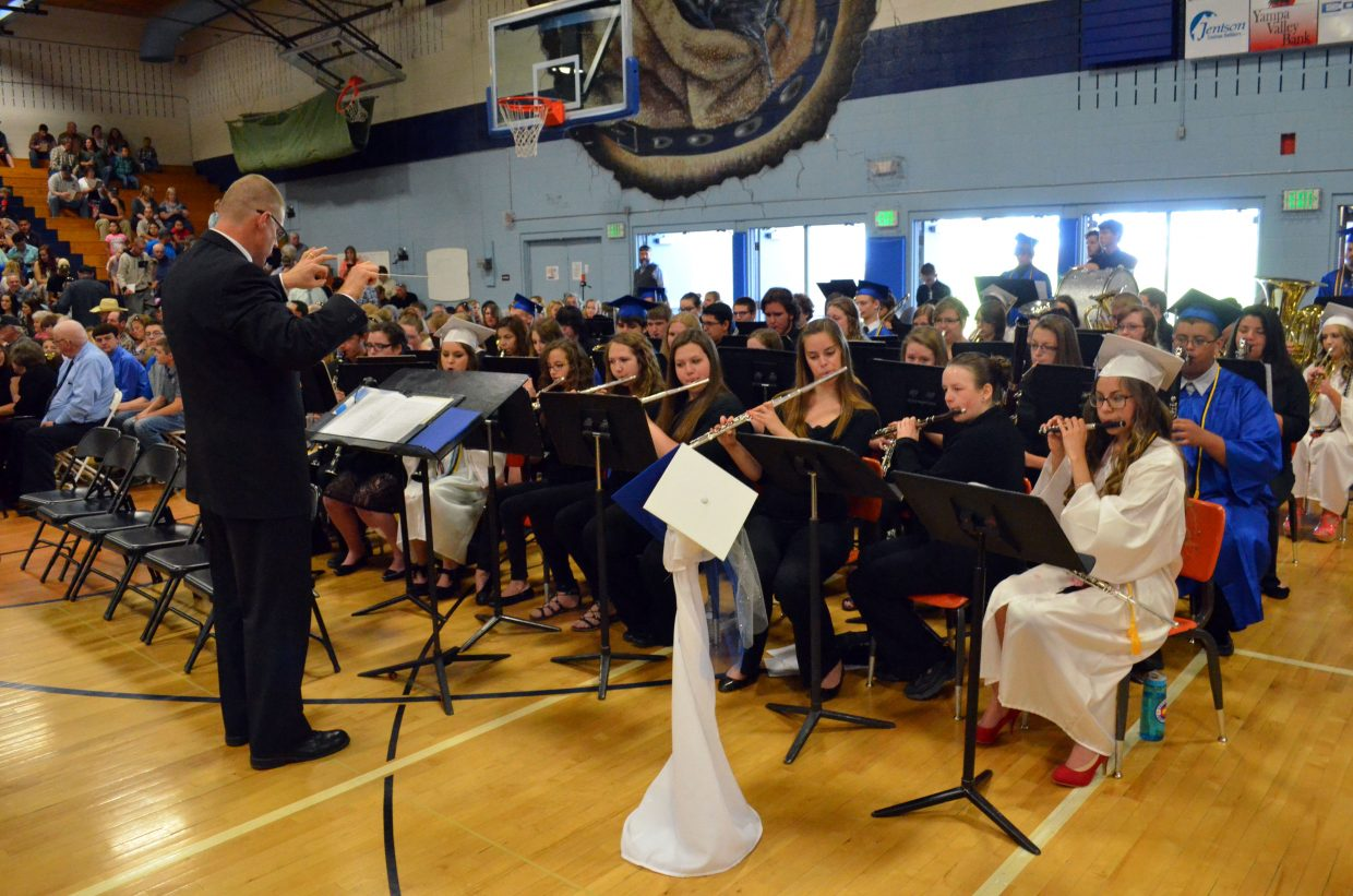 The Moffat County High School band led by John Bolton provides instrumental entertainment prior to the graduation ceremony Saturday.