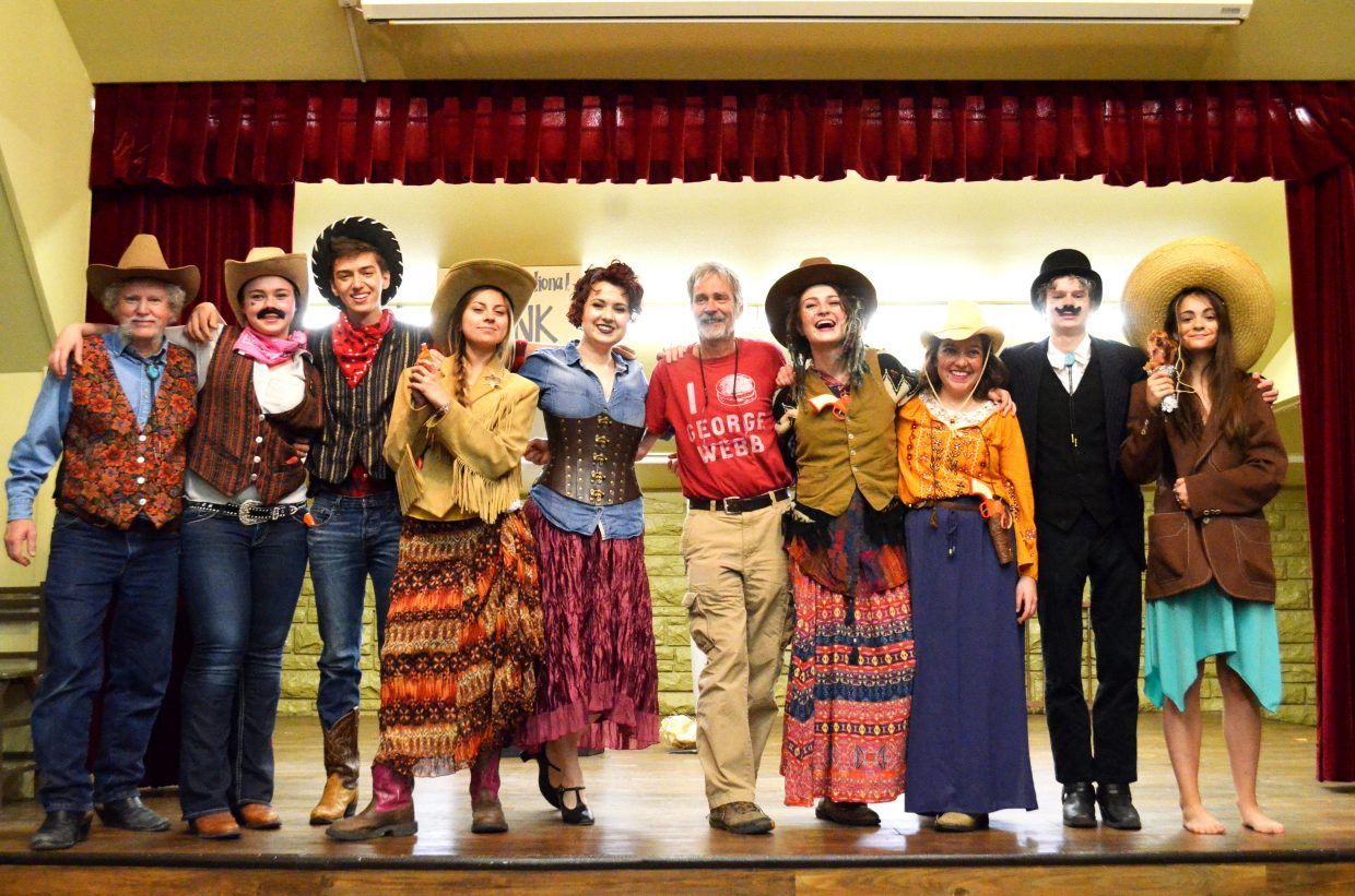 """The play """"An Old West Craig Crime Spree"""" was performed on Monday at Moffat County Fairgrounds Pavilion to a packed audience. The play was apart of the Grand Olde West Days weekend. David Morris wrote the play. Pictured left to right is Randy Looper, Faith Christiansen, Travis Johnson, Stephanie Duarte, Marina Mecham, David Morris, Moriah Mecham, Riley Johnston, Jeremy Looper and Makenna Madeoux."""