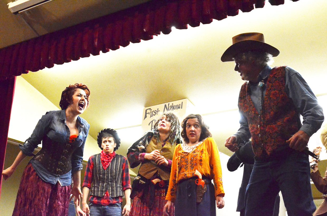 """The cast of """"""""An Old West Craig Crime Spree"""" shows animation while performing."""
