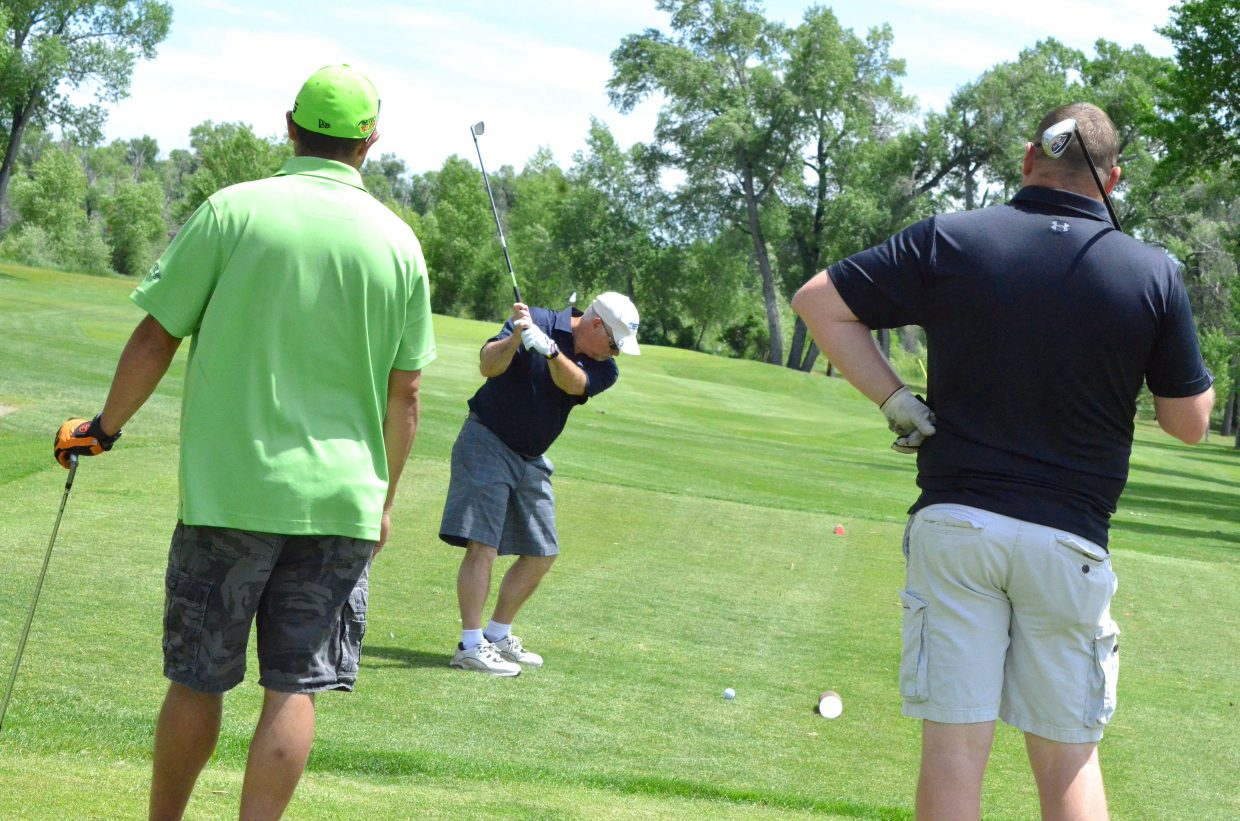 Players seek a chance to win a $25,000 prize on the seventh tee box of Yampa Valley Golf Course as part of Friday's tournament benefitting The Memorial Hospital Foundation. Each Par 3 featured a sizable prize package for a hole-in-one, with the cash windfall on hole seven provided by Justin Kawcak and 360 Insurance.