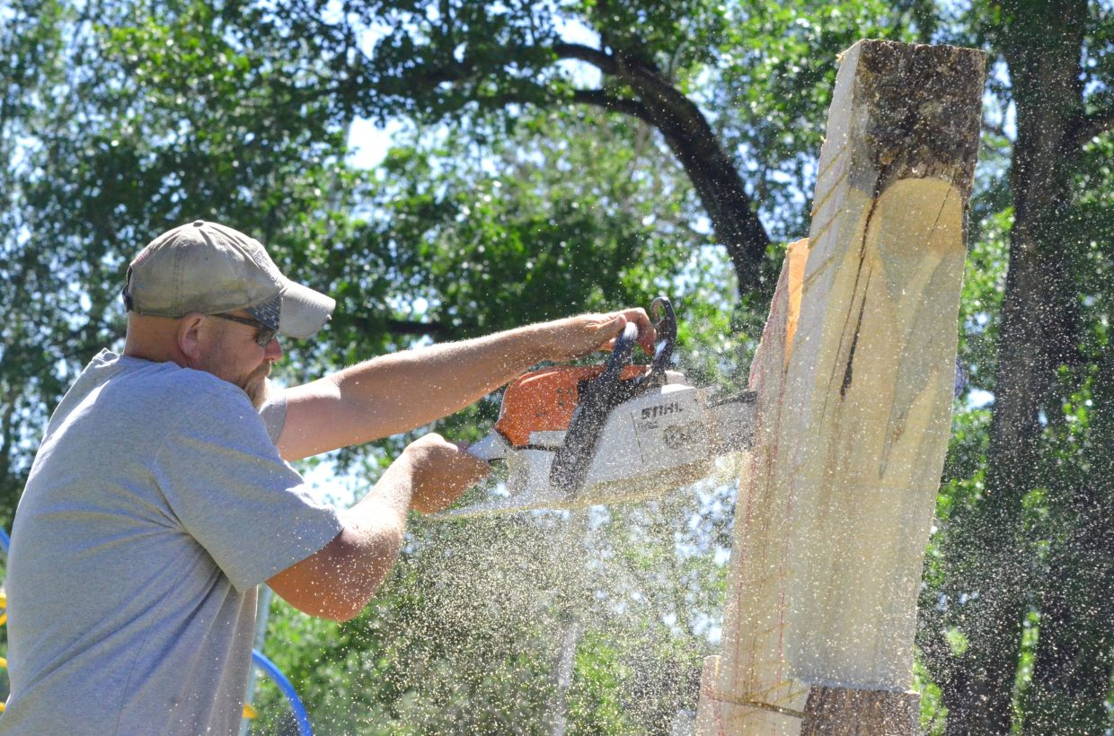 Joe Wenal cuts into his log and sprays sawdust everywhere during the opening day of Whittle the Wood Rendezvous. The 17th annual event runs through Saturday at Loudy-Simpson Park and features numerous wooden works of art in addition to other festival features for spectators.