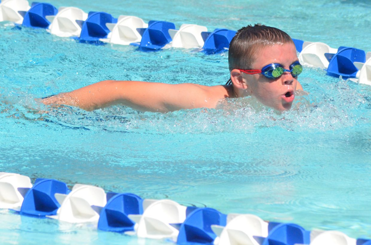 Hudson Jones stays focused in his first lap of the boys 200-meter individual medley at the Craig Sea Sharks' ABC Meet Saturday morning at the Craig City Pool Complex.