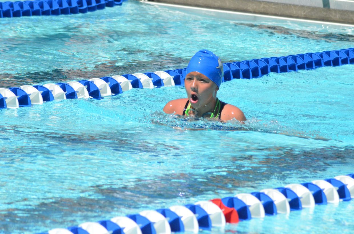 Julia Rich comes up for air after diving into the water for her leg of the girls 200-meter medley relay at the Craig Sea Sharks' ABC Meet Saturday morning at the Craig City Pool Complex.