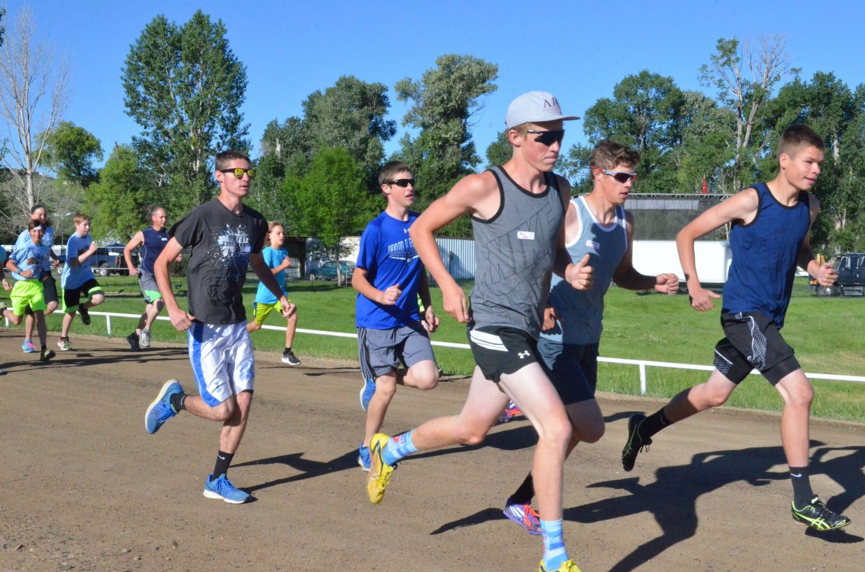 Moffat County High School runners lead the pack to start the fifth annual Wake the Whittler 5K Saturday morning at Loudy-Simpson Park. A total 84 runners registered for the race, a fundraiser for Friends of Moffat County Education.