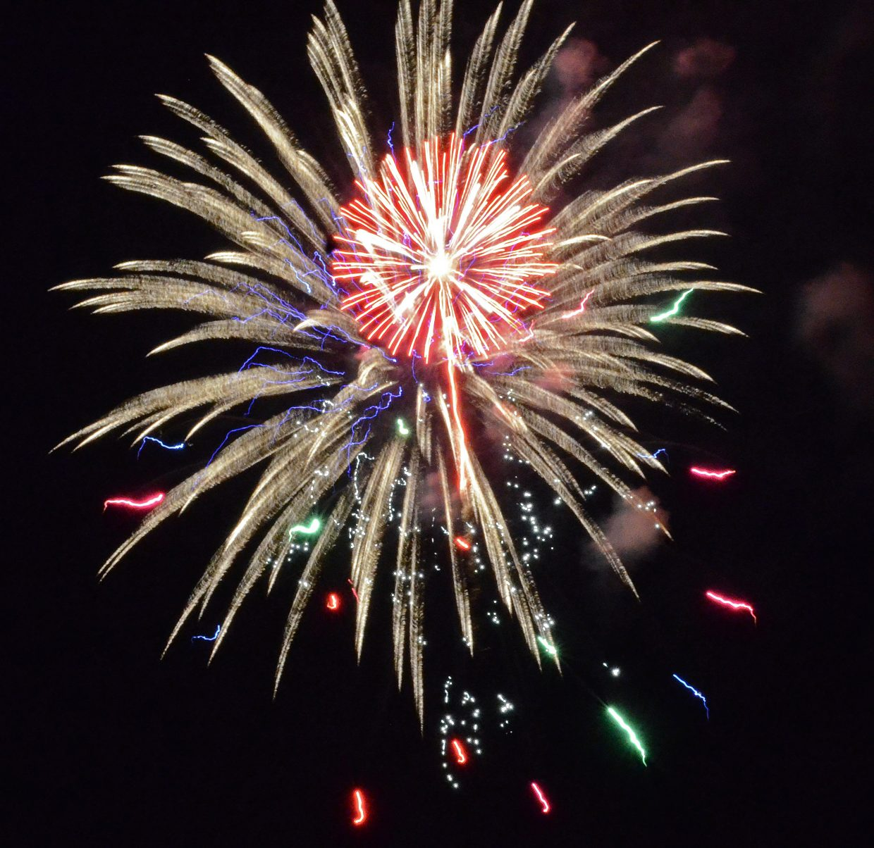 Fireworks light up the night sky in Craig