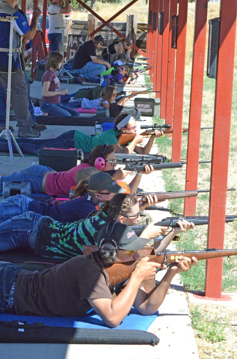 The Moffat County .22 rifle team is in the prone position as part of the 4-P portion of the 4-H completion shoot Saturday at Bears Ears Sportsman Club. The .22 rifle event includes 4-P, 3-P, hunt and scope shooting. The range also hosts .22 pistol, air pistol, air rifle and muzzleloader events to send kids to state.