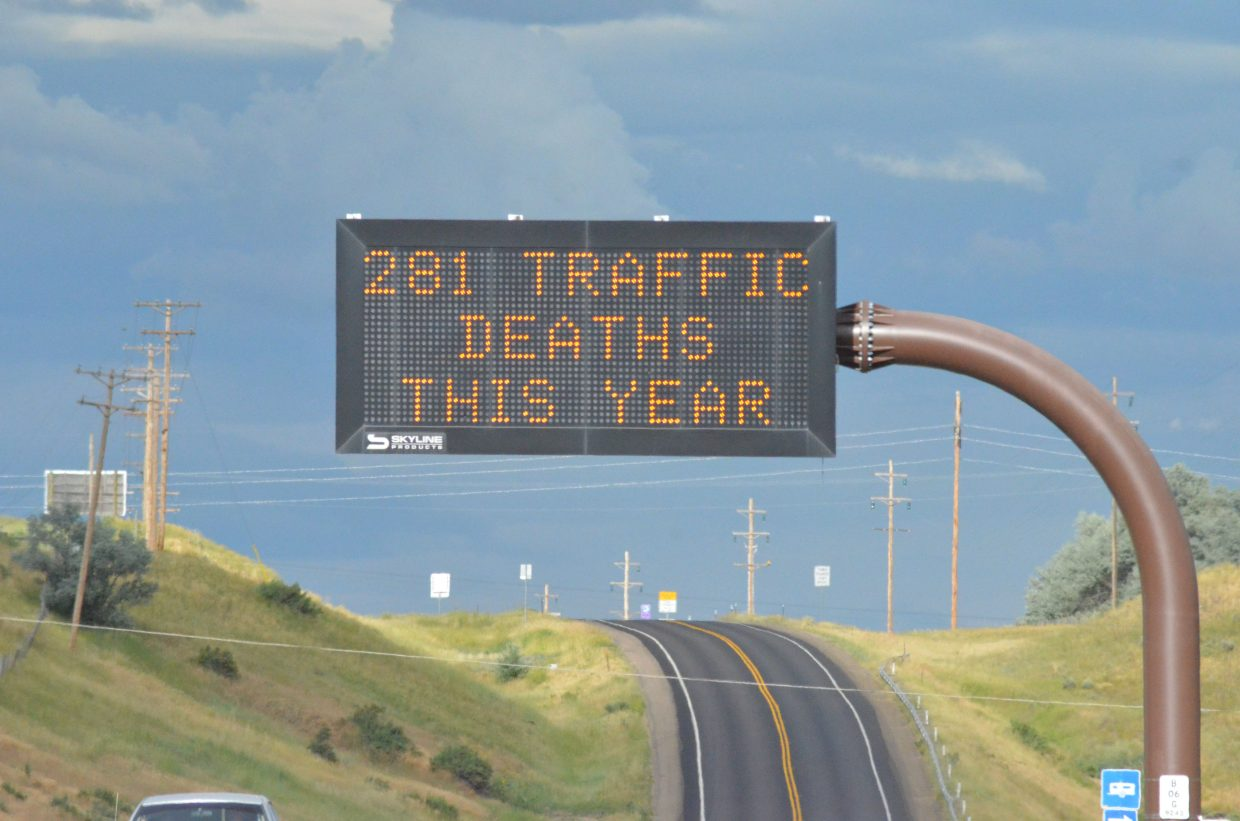 A sign on Highway 40 reminds drivers of the number of fatalities to date in 2016.