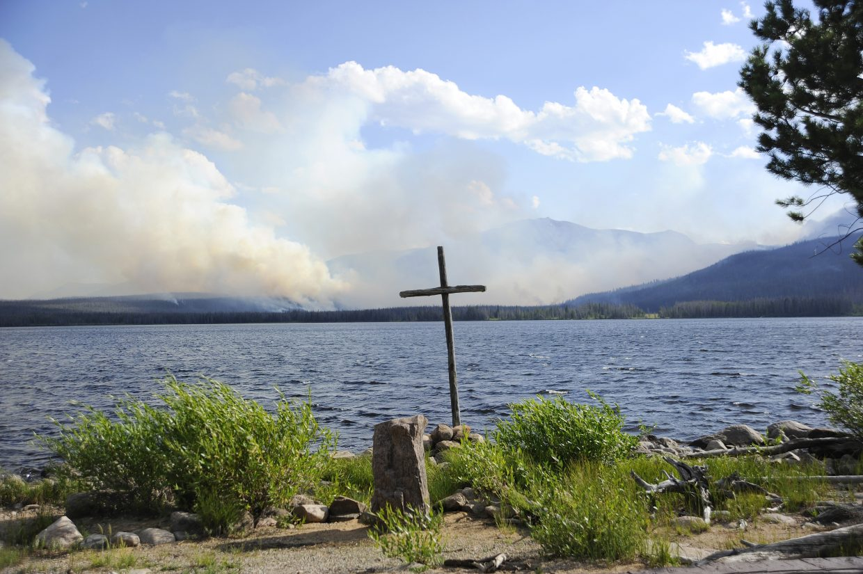 The Beaver Creek fire burns Friday in the Zirkel Wilderness Area near the Lower Big Creek Lakes, where a chapel was spared from damage.
