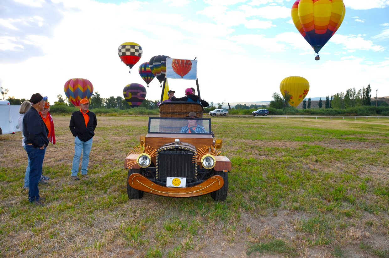 This car chases balloons and picks the up where ever they might land.