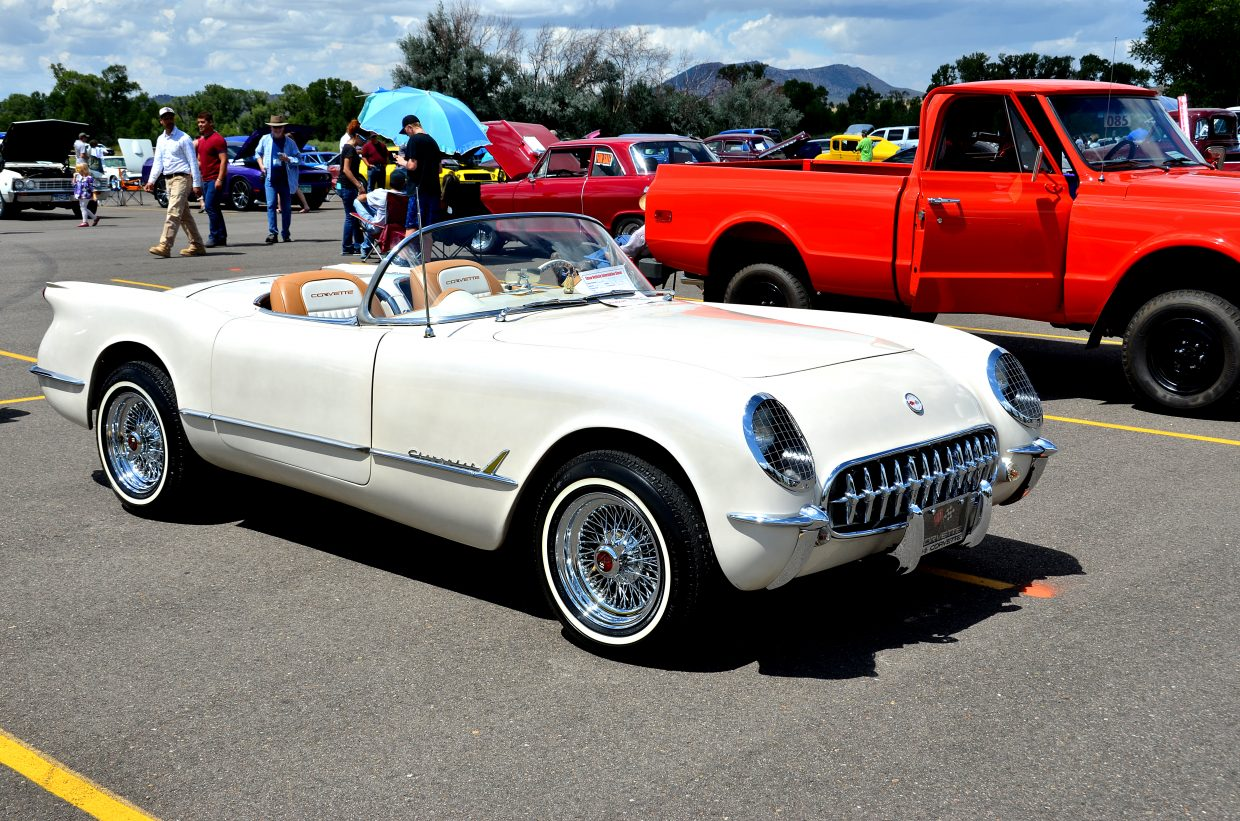 Classic cars filled the parking lot in Loudy-Simpson Park Saturday.