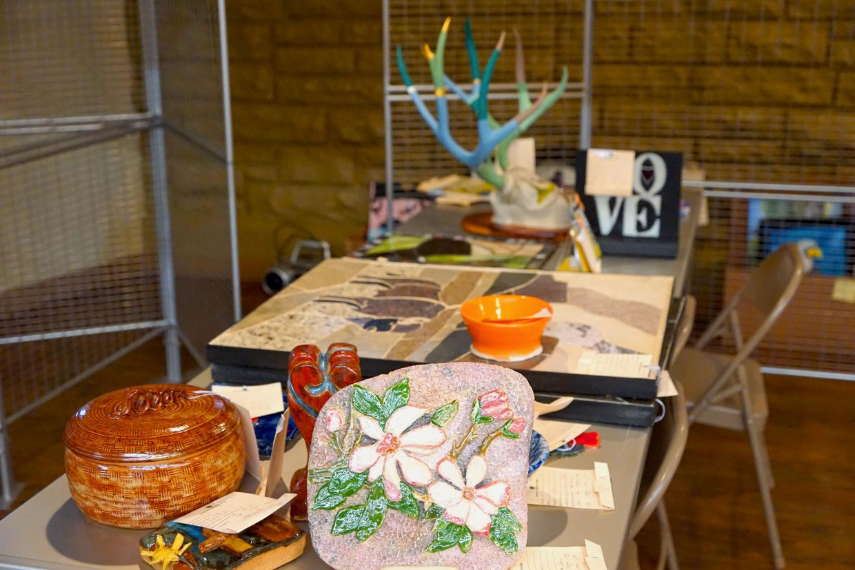 Entries sit, ready for judging. All kinds of art including pottery, painting, drawing, mixed media, music and poetry is welcome at the 2016 Moffat County Fair.