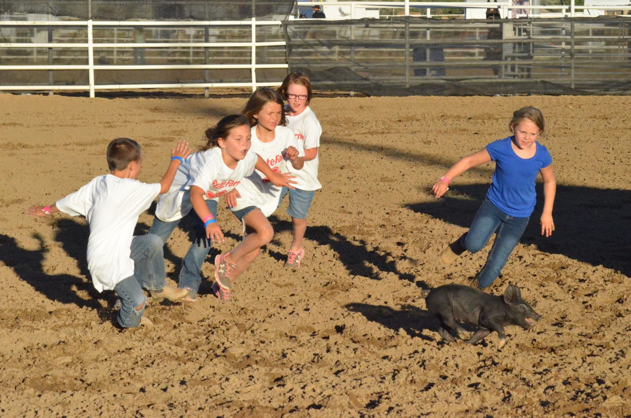 Children in the Catch-a-Pig contest Friday night at Moffat County Fairgrounds show it's everyone for themselves as they chase after a greased pig.