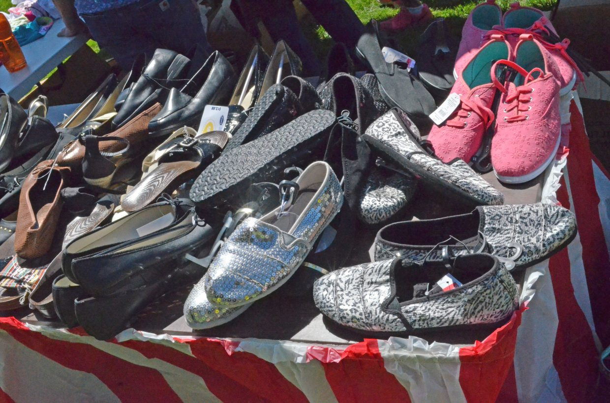 A variety of shoes were among the many items of new clothing donated by Walmart as part of Saturday's Back-to-School Fair, hosted by Love INC of the Yampa Valley. at Breeze Street Park.
