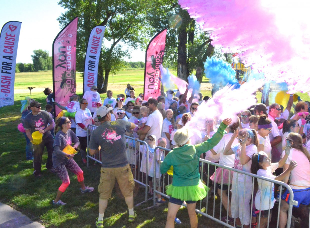 The Color Explosion follows The Color Dash 5K Saturday at Loudy-Simpson Park as participants receive one big dose of colored powder of every shade.