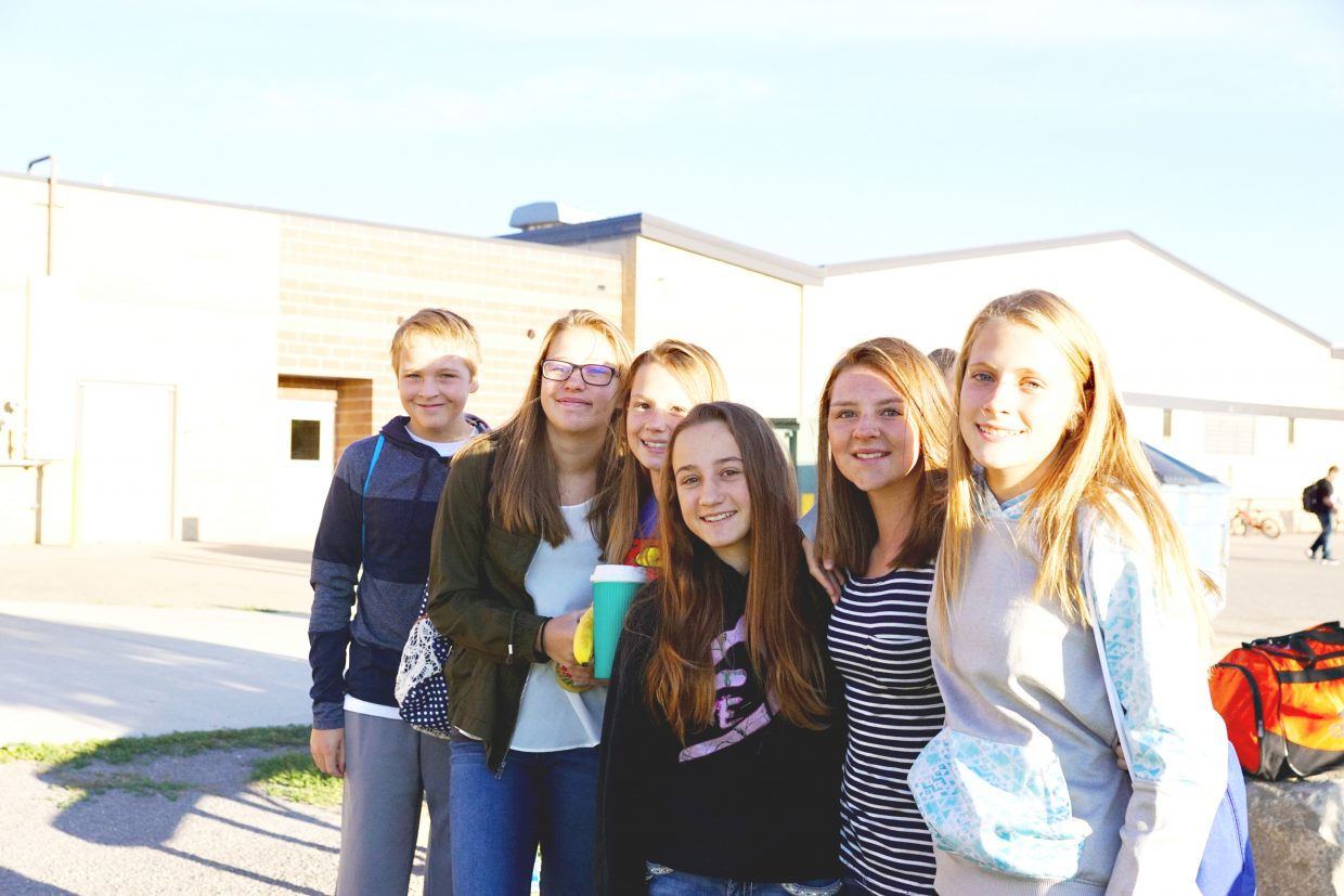 A group of Craig Middle School friends reconnect at the start of the 2016-17 school year.