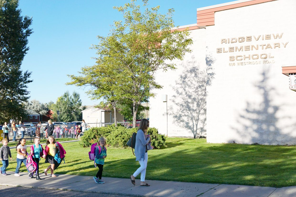 The new kindergarten students at Ridgeview Elementary School learned how to line up and walk into the school on their first day of class for the 2016-17 school year.