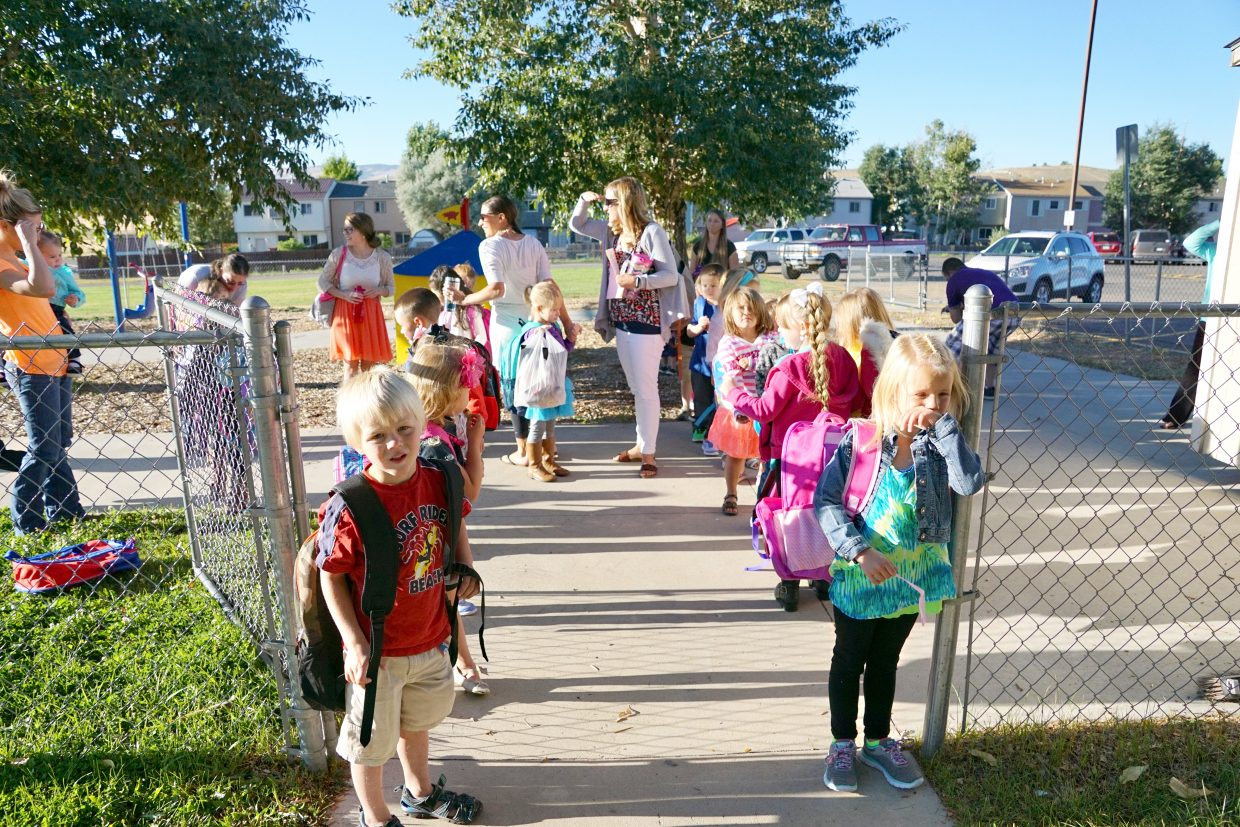 Kindergartners at Ridgeview Elementary School students line-up as they prepare to head into their first day of class for the 2016-17 school year.