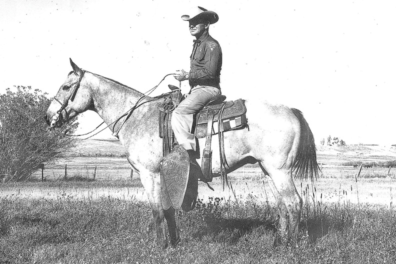 Richard Barker is shown on a horse in the 1950s. Barker settled in the Little Snake River Valley area of Wyoming in 1923 with his wife, Virginia. He died in Craig in 1976 at the age of 76.