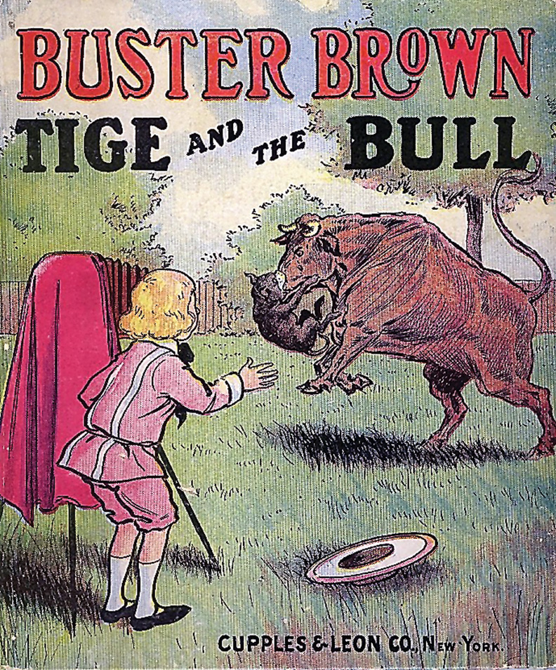 Pictured is the front of a comic book featuring Buster Brown and his dog, Tige.