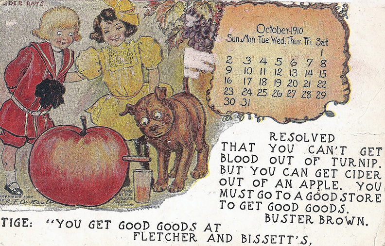 Pictured is a promotional post card featuring Buster Brown and his dog, Tige, from the early 20th century.