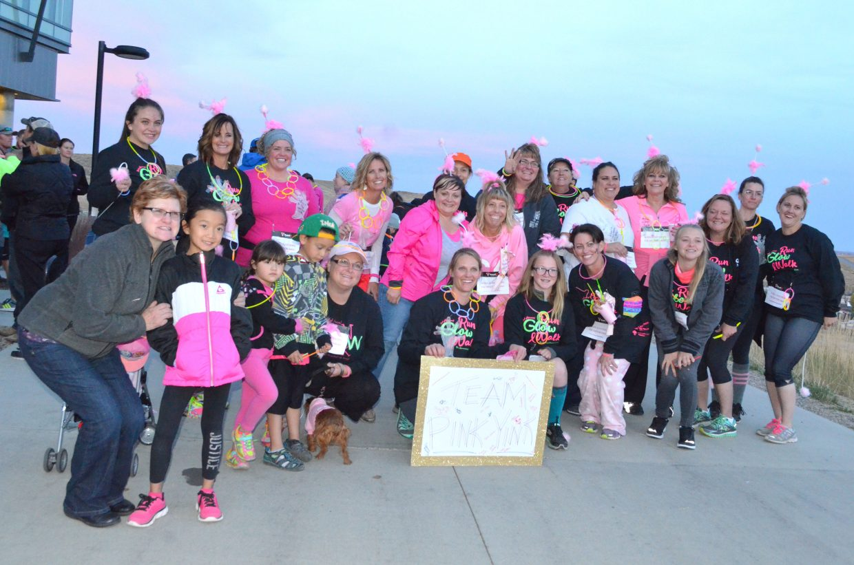 The Pink Yinks show their stuff at the onset of The Memorial Hospital Glow Run 5K Saturday. The third annual event featured about 150 runners and walkers in a 5-kilometer course around TMH and Colorado Northwestern Community College.