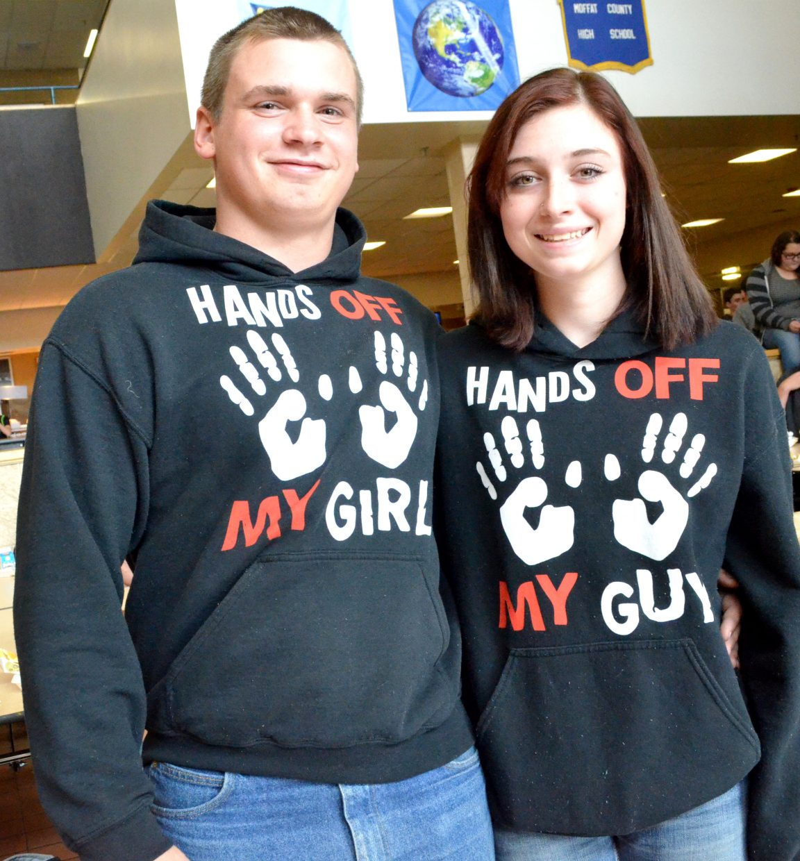 Moffat County High School's Jimmy Brooks, left, and Hunter Nitzel show off their complementary hoodies as part of Twin Day Tuesday during MCHS Homecoming Week.