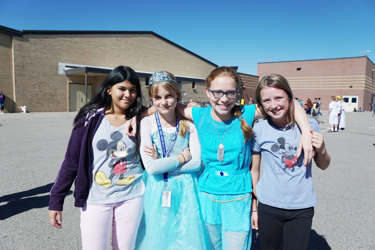 Showing their school pride by dressing up for the Disney/Pixar theme day during Moffat County Homecoming Week were Camila Casasola, Shaylee Patterson, Jessica Womble and Jordyn Schaefer all who are in the seventh-grade at Craig Middle School.