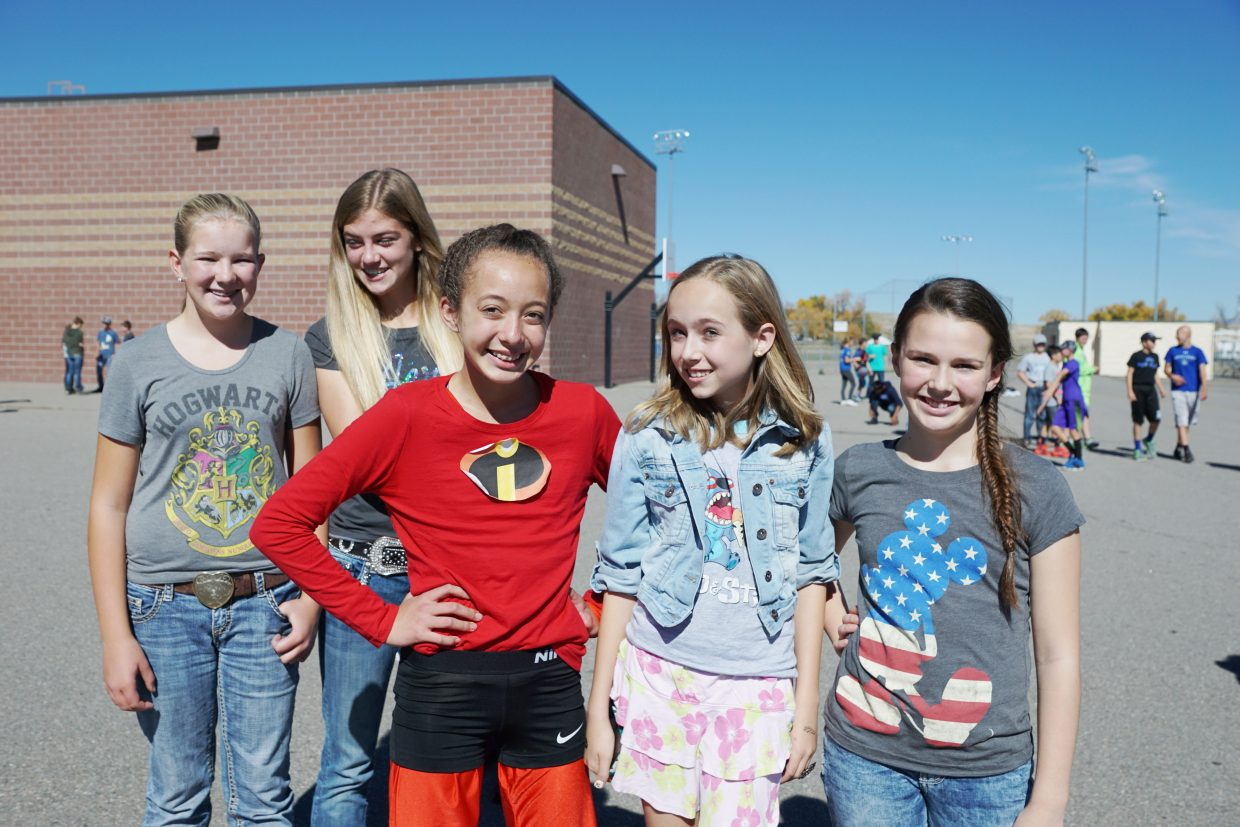 Emily Howe, Rylie Felten, Olivia Profumo, Kenzey Wright, and Brenna Herndon were among Craig Middle School seventh-grade students who sported creative outfits on Thursday for the Homecoming Week dress up day theme of Disney/Pixar.