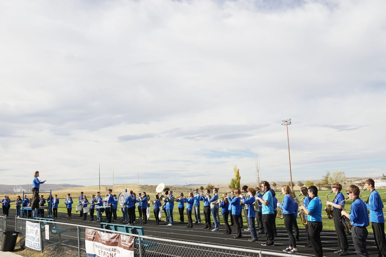 The Moffat County High School Marching Band practices before the 2016 Homecoming parade and performance at the Friday night football game.